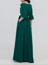 Vintage Solid Long Sleeve Wrap Maxi Dress