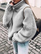 Leisure Solid Color Loose Turtleneck Sweater