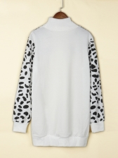 Leopard High Neck Casual Long Sweatshirt