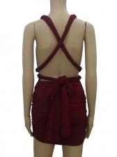 Back Bandage Ruffled Sleeveless Dress