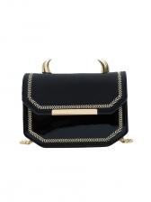Horn Decorated Matt Pu Patchwork Chain Shoulder Bag