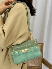 Crocodile Print Rivets Letter Chain Shoulder Bag