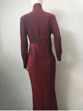 Solid Slim Fit Long Sleeve Maxi Dress