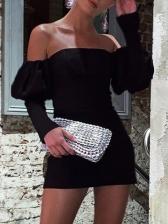 Sexy Shoulder Strap Black Long Sleeve Dress