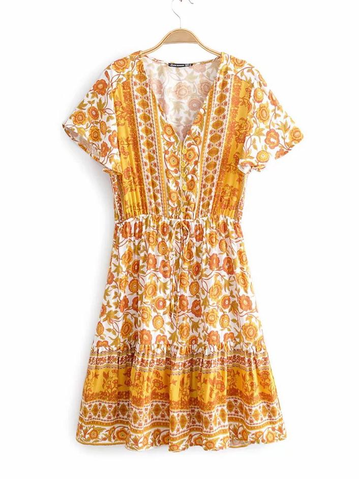 V Neck Floral Short Sleeve Dress