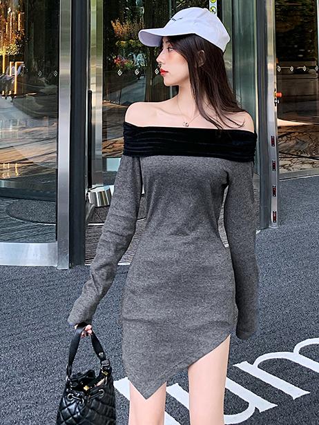 Off Shoulder Irregular Hem Long Sleeve Mini Dress