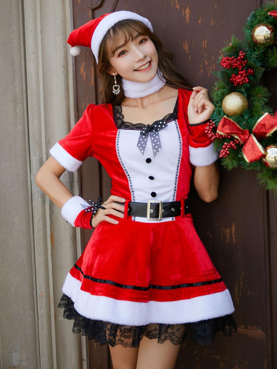 Christmas Cosplay Eyelash Hem Long Sleeve Dress