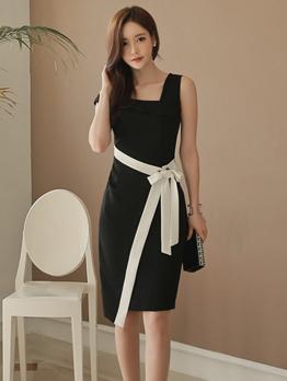 Korean Design Binding Bow Black Sleeveless Dresses