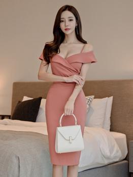 Sexy V Neck Solid Off The Shoulder Dress