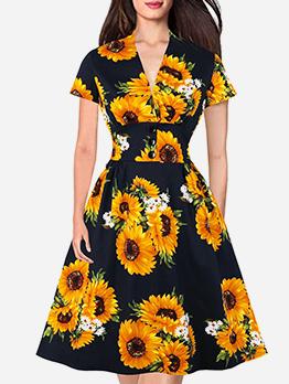 Sunflower Printed Slim Waist Short Sleeve Summer Dresses