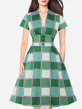 Plaid Slim Waist Short Sleeve Casual Dresses