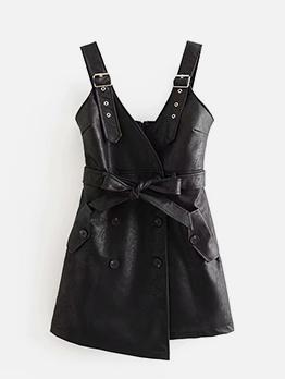 Pu Empire Waisted Wrap Ladies Black Dress