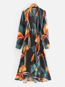 Euro Contrast Color Print Long Sleeve Wrap Dress