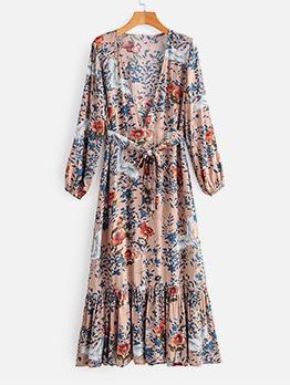 Vintage v Neck Wrap Floral Maxi Dress