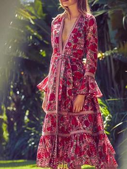 Boutique v Neck Wrap Long Sleeve Floral Dress