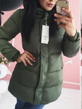 Medium Length Hooded Cotton-Padded Winter Jacket