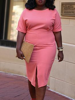 Pure Color Split Hem Short Sleeve Midi Dress