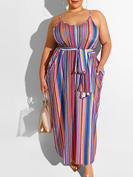 Color Striped Sleeveless Maxi Dress