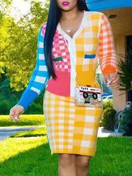 Casual Contrast Color Plaid Two Piece Skirt Set