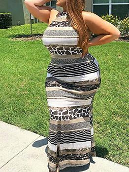 Animal Printed Halter Maxi Dress