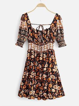 Square Neck Backless Floral Short Sleeve Dress