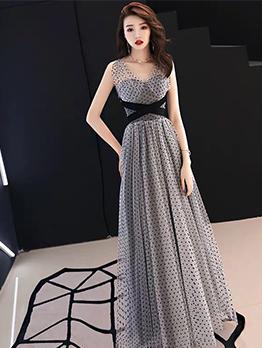 Backless Dot Sleeveless Evening Dresses For Women