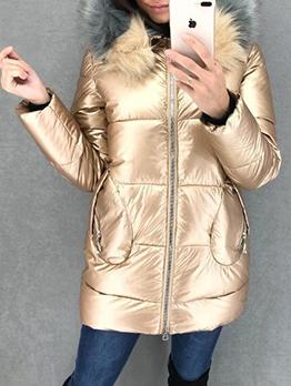 Side Pockets Hairy Hooded Ladies Winter Jacket