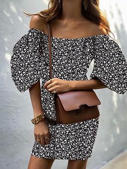 Stylish Floral Lantern Short Sleeve Summer Dresses