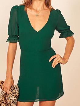 Back Hollow Out v Neck Green Dress