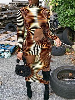 Cut Out Animal Printing Midi Dress