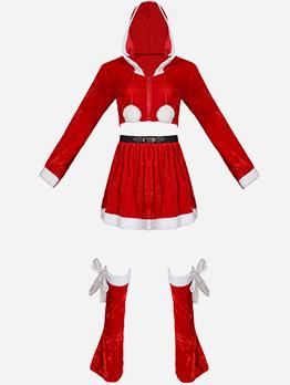 Red Velvet 2 Piece Outfits Christmas Santa Costume