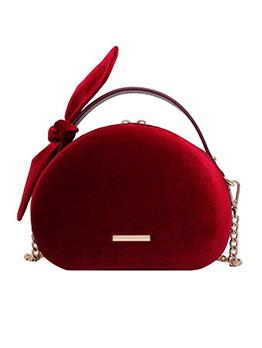 Double Zipper Bowknot Velvet Chain Shoulder Bag