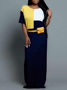 Contrast Color Short Sleeve Casual Long Maxi Dress