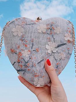 Heart Shape Lace Chain Crossbody Shoulder Bag