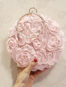 Stereo Flower Rhinestone Handle Round Ladies Handbags