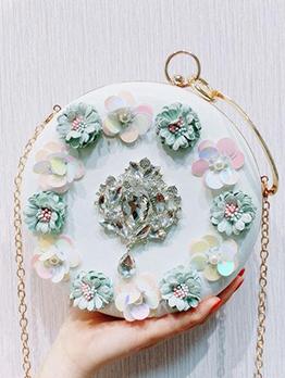 Stereo Flower Rhinestones Round Chain Handbags