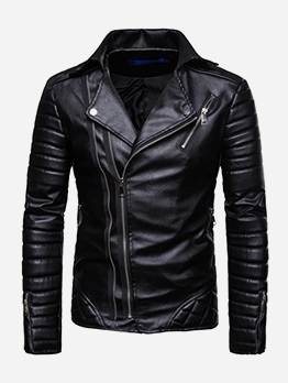 Motorcycle Zip Up Solid Men Jacket