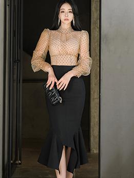 Polka Dot Blouse With Ruffled Hem Midi Skirt