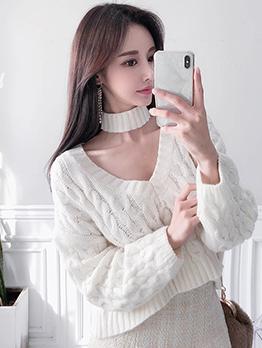 Simple Design Knit V Neck Sweater