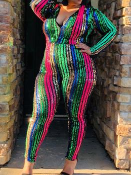 Plus Size Long Sleeve Sequin Jumpsuit