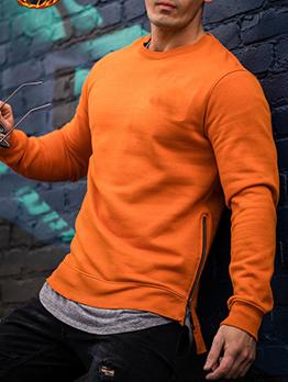 Casual Thick Solid Men Crewneck Sweatshirt