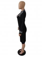 Black Rhinestone Keyhole Long Sleeve Midi Dress