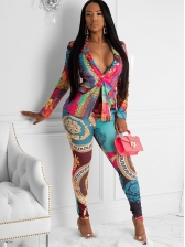 Multicolored Printed Blazer Two Piece Trouser Set
