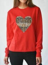 Snake Skin Heart Print Long Sleeve Sweatshirt