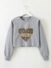 Snake Print Long Sleeve Cropped Sweatshirt For Women
