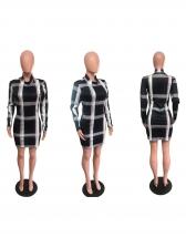 Plaid Stand Collar Long Sleeve Bodycon Dress