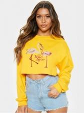 Flamingo Print Cropped Crewneck Sweatshirt