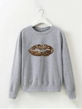 Autumn Leopard Lips Print Long Sleeve Sweatshirt