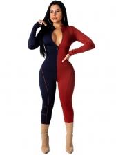 Contrast Color Front Zipper Long Sleeve Jumpsuit