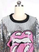 Lips Print Half Sleeve Sequin T-Shirt For Women